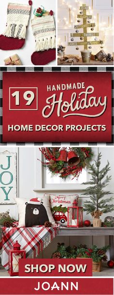 Deck the halls with everything from emerald greens and crimson reds to snowy white to plaid with this collection of 19 Handmade Holiday Home Decor Projects from JOANN. With ideas for your mantle, Christmas tree, and living room, you can be sure to bring a Homemade Christmas, Diy Christmas Gifts, Christmas Projects, Christmas Home, Christmas Travel, Plaid Christmas, Christmas Ideas, Christmas Ornaments, Ideas Decoracion Navidad
