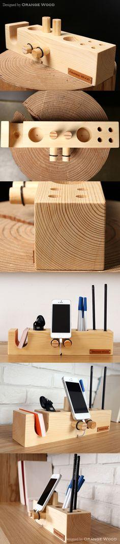 [핸드폰거치대 연필꽂이 - 벤티 네추럴우드 (Venti Naturalwood)] 데스크의 품격을 높여 주는 핸드폰거치대연필꽂이, 지갑…