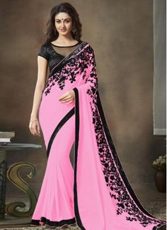 Grandiose Pink Sequins Work Faux Georgette Saree Shop online at your ease and pick designer party wear saree of your choice. It is no more an attire, but it now represents Indian culture, Indian fashion, and Indian women. Explore stunning latest designer party wear sarees at Indians Fashion.  So, shop with us and get the perfect look. What are you waiting for! Start browsing through our vast collection and fill up your shopping cart because we are ready to ship!