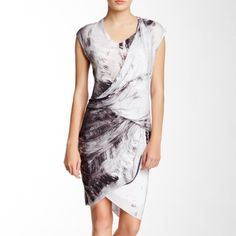 """Helmut Lang tidal-print tucked jersey dress Tucking in all the right places create layers of gentle draping in a knit dress with an edgy print. Crossover v-neck, dolman cap sleeves, tulip hem, viscose and draped, layered wrap front. About 25"""" from natural waist. Brand new and never worn. trades. Helmut Lang Dresses"""
