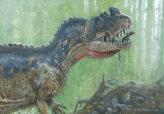 acrylics 2015, Ceratosaurus dentisulcatus carries the hatchlings from the recently opened nest into safety.