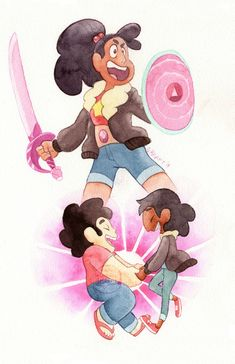 I finally finished the last pieces of my Steven Universe Fusion series! I figured with all the others I had painted it was time to finally paint the rest of the missing fusions. Steven Universe Wallpaper, Steven Universe Drawing, Universe Art, Disney Channel, Cartoon Network, Zodiac Signs Colors, Steven Universe Personajes, Steven Universe Diamond, Cartoon Sketches
