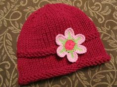 Knitted Baby Hat  Deep Pink Hand Knit Baby Hat by UpNorthKnits, $24.00