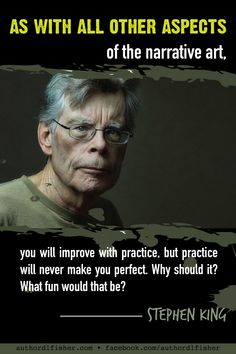 There are few writers more accomplished than Stephen King. What I love most about him is his authenticity and out-of-the-box, nonconformist style. Creative Writing Tips, Book Writing Tips, Writing Prompts, Stephen King Quotes, Writing Memes, Writing Motivation, A Writer's Life, English Writing Skills, Writer Quotes