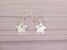 Silver star earrings Fine silver hoops Hammered by AllthingsBAB