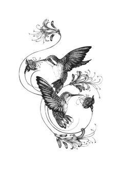 Hummingbirds & Honeysuckle Fine Art Print by Emily Carter - Tattoos - Tatoo Ideen Tattoo Oma, Et Tattoo, Cover Tattoo, Vine Tattoos, Body Art Tattoos, Sleeve Tattoos, Cloud Tattoos, Fox Tattoos, Back Tattoo Women