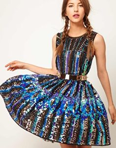 ASOS Skater Dress in Holographic Sequin - $386.98 - I love how this looks like a city skyline at night!