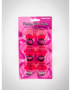 Flashing Bling Rings 6 Pk