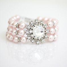 Pink Pearl Bridal Bracelet Swarovski Crystal Pearl Cuff Bracelet Vintage style ANNELISSE.