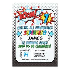 Superhero 7th birthday Party Invitation 1st Birthday Invitations Boy, Superhero Invitations, Invites, Invitation Cards, Invitation Background, 6th Birthday Parties, 1st Boy Birthday, Birthday Ideas, Diy Superhero Birthday Party