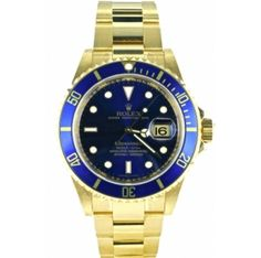 yellow gold Rolex Oyster Perpetual Submariner, Offered by Second Time Round Rolex Submariner Gold Blue, Gold Rolex, Luxury Watches, Rolex Watches, Watches For Men, Golden Watch, Watch Blog, Rolex Oyster Perpetual, Wristwatches