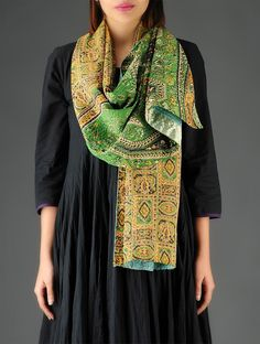 Cyan-Green-Orange Silk-Cotton Kantha Embroidered Reversible Stole - Buy Accessories > Scarves & Stoles > Cyan-Green-Orange Silk-Cotton Kantha Embroidered Reversible Stole Online at Jaypore.com