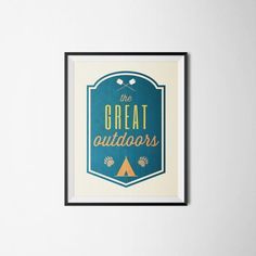 Outdoors Nursery Print Camping Print The Great Outdoors Print Woodland Office Kids Room Cabin Art INSTANT DOWNLOAD