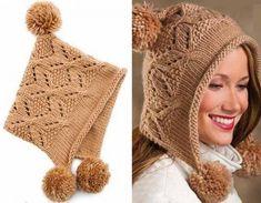 Зимние теплые шапочки для девочек и мам, связанные спицами — Рукоделие