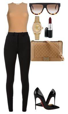 Untitled #163 by amoney-1 on Polyvore featuring polyvore, fashion, style, CÉLINE, Victoria Beckham, Christian Louboutin, Rolex, MAC Cosmetics, Chanel and clothing