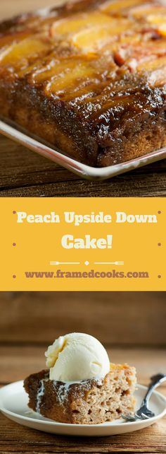 This easy recipe for peach upside down cake is one of the best summer desserts around. Simple to make and rich with the flavors of brown sugar, vanilla, and of course, sweet juicy peaches! Just like Grandma used to make. Pie Dessert, Eat Dessert First, Recipe For Peach Upside Down Cake, Best Summer Desserts, Cake Recipes, Dessert Recipes, Peach Cake, Almond Cookies, Cupcake Cakes