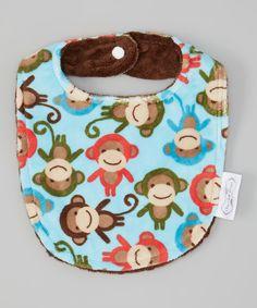 Look what I found on #zulily! Blue & Brown Monkey Bib by Bebe Bella Designs #zulilyfinds