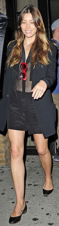 Who made  Jessica Biel's black shorts, red sunglasses, and mesh button down top?