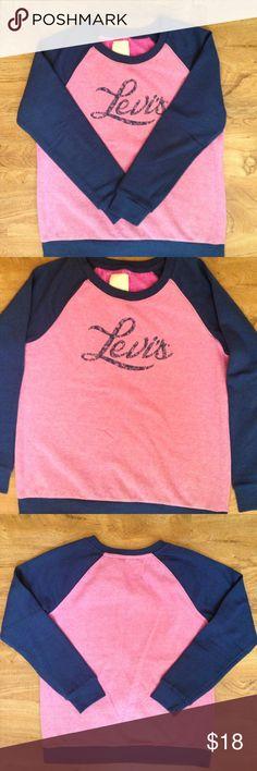 Levi's Crewneck Sweatshirt SUPER SOFT!!! Pretty navy blue & a lighter purplish/pink; warm; worn once, hang-dried; like new. The last photo shows true color. Levi's Tops Sweatshirts & Hoodies