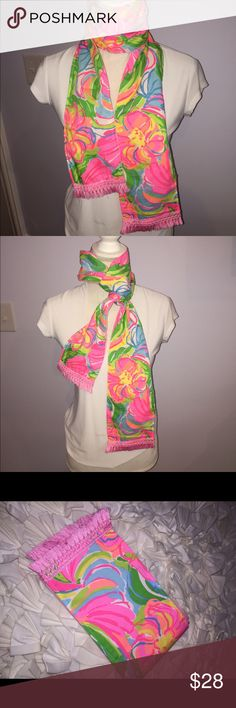 Lilly Pulitzer So A Peeling Fabric Spring Scarf Brand new w tags handmade Lilly Pulitzer so a Peeling fabric scarf with pink tassel trim.. Perfect lightweight Spring accessory 💕💕not Lilly Pulitzer brand Accessories Scarves & Wraps