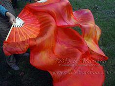 "1 pair(2pcs)  belly dance silk fan veil, tie-dye sakura, 36"" x approx 71"", free bag"