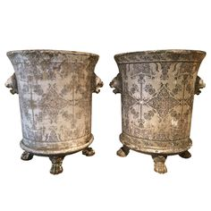 """Pair of French 19th Century """"Rouen Enamel"""" Jardinieres 