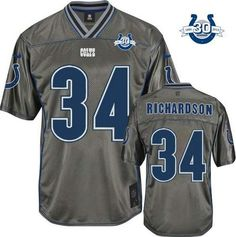 """$23.88 at """"MaryJersey""""(maryjerseyelway@gmail.com) Nike Colts #34 Trent Richardson Grey With 30TH Seasons Patch Men's Stitched NFL Elite Vapor Jersey"""
