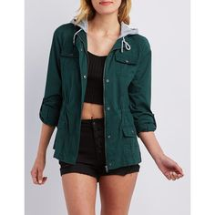 Charlotte Russe Removable Hood Anorak Jacket ($39) ❤ liked on Polyvore featuring outerwear, jackets, emerald, anorak jacket, funnel neck jacket, charlotte russe jackets, detachable hood jacket and blue jackets