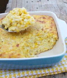 Corn Pudding - think creamed corn baked in custard.  Perfect from Summer Picnics to Thanksgiving and Christmas Dinner!