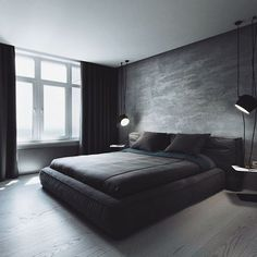Bedroom in dark colors by InCube. Photo by Andrew Andeenko.