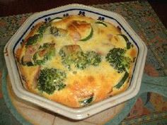 broccoli zucchini gratin 簡単ズッキーニとブロッコリーのキッシュ風 (broccoli, zucchini, bacon, cheese, cream)