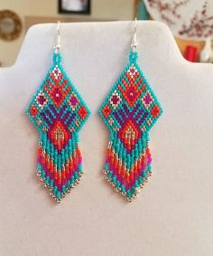 Native American Style Beaded Turquoise Pink Orange and