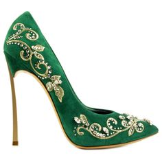 Casadei green suede pumps covered with Swarovski stones and strass, gold metal heel