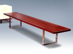 Reef Design Low Bench - Jarrah timber & stainless steel furniture