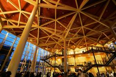 Another hall in Sibelius Hall is called which is the heart of the whole building and connects part together. Laminated Veneer Lumber, Auditorium Seating, Hall Flooring, Wooden Architecture, Up To The Sky, Wood Structure, Old Factory, Glass Facades, Brick Building