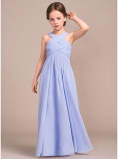 A-Line/Princess V-neck Floor-Length Chiffon Junior Bridesmaid Dress With Ruffle (009081159)