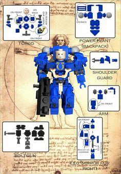 Mech done Da Vinci style. Minifigura Lego, Lego Bots, All Lego, Lego War, Lego Mecha, Lego Design, Lego Minifigs, Cool Lego Creations, Lego Models