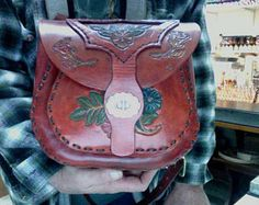 Purse / Bag / Women / Leather / Large / Hand carved and Tooled / Custom / Desert Roses and Western Flowers / Hand Crafted / Handmade / Lady