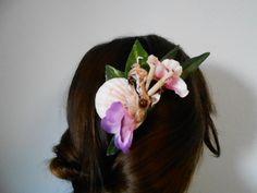 Tropical exotic hair piece polynesian shells bamboo tiki wooden beads
