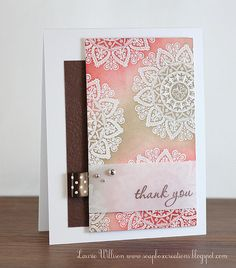 Love the emboss resist technique.  Need to do more of this of my own cards. Lovely soft colours.