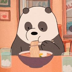 We bare bears panda eating noodles 🍝