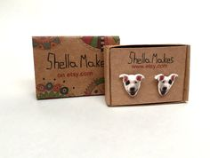 Dog stud earrings, Bull Terriers earrings, original jewellery by ShellaMakes on Etsy
