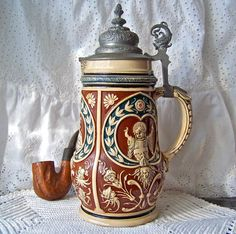 Vintage Beer Stein Pewter Lid Germany