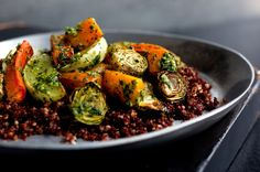 Quinoa with roasted winter vegetables and pesto. Photo: Andrew Scrivani for The New York Times