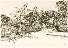 Public Garden with Benches by Vincent Van Gogh - 1407