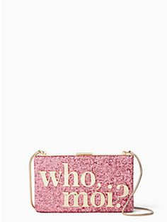 this glitter-covered, frame-close clutch is finished with a witty message inspired by our newest muse, the one and only miss piggy