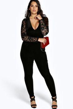 Plus Leah Velvet & Lace Jumpsuit