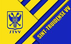 Download wallpapers Sint-Truidense VV FC, 4k, Belgian football club, yellow blue abstraction, logo, material design, Sint-Truiden, Belgium, football, Jupiler Pro League