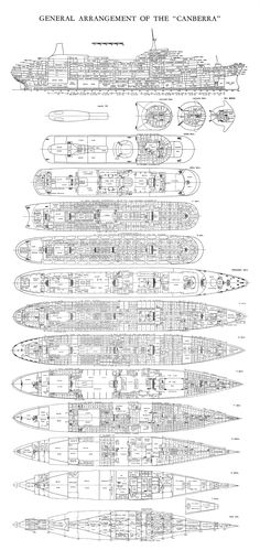 SS Canberra - General Arrangement Profile and all decks