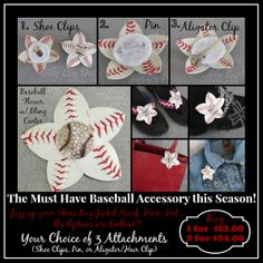 Real Baseball Flowers with Bling Centers Available with pin, Alligator, or Shoe Clip backs.  Can accessorize all kinds of things for Baseball Season!  blingitallover@gmail,com to Order